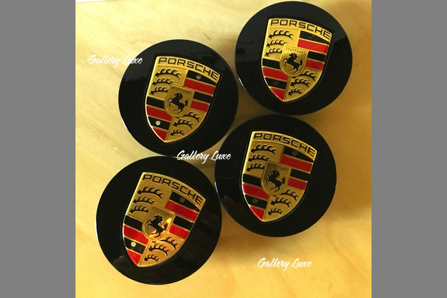 Set of 4 Porsche Black and Gold Center Caps Concave Glossy 7L5 601 149  - #1