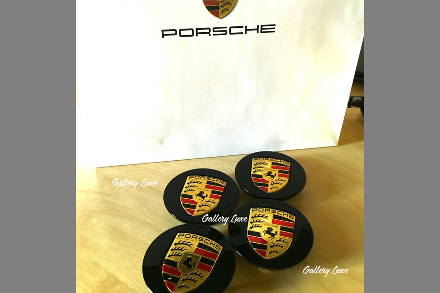 Set of 4 Porsche Black and Gold Center Caps Concave Glossy 7L5 601 149  - #3
