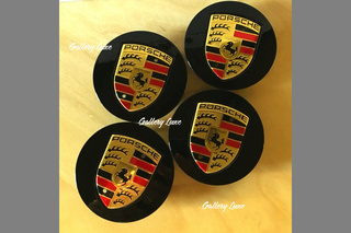 Set of 4 Porsche Black and Gold Center Caps Concave Glossy 7L5 601 149  - Primary photo