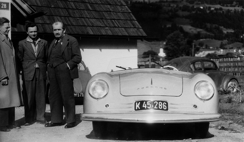 photo of the 356 no.1 with designer Erwin Komenda, Ferry Porsche, and Ferdinand Porsche