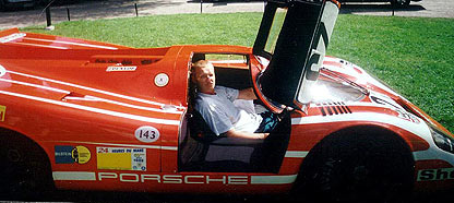 James at the wheel of the Porsche's first Le Mans overall winner, a 1970 917K #23 (photo taken in 2001)