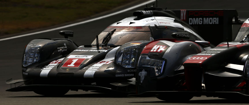 2016 Porsche 919 hybrid, Nürburgring 6 hours, fight with Audi