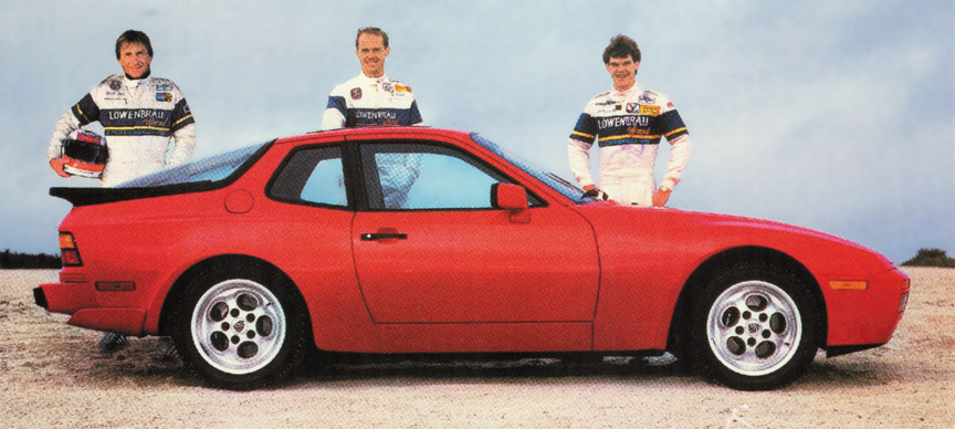 Porsche 944 Turbo, Derek Bell, Al Holbert, and Al Unser jr.