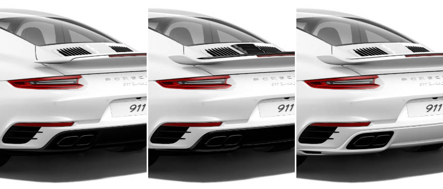 Porsche 911 991.2 Turbo 3.8 rear spoiler: standard, Aerokit black, Aerokit painted