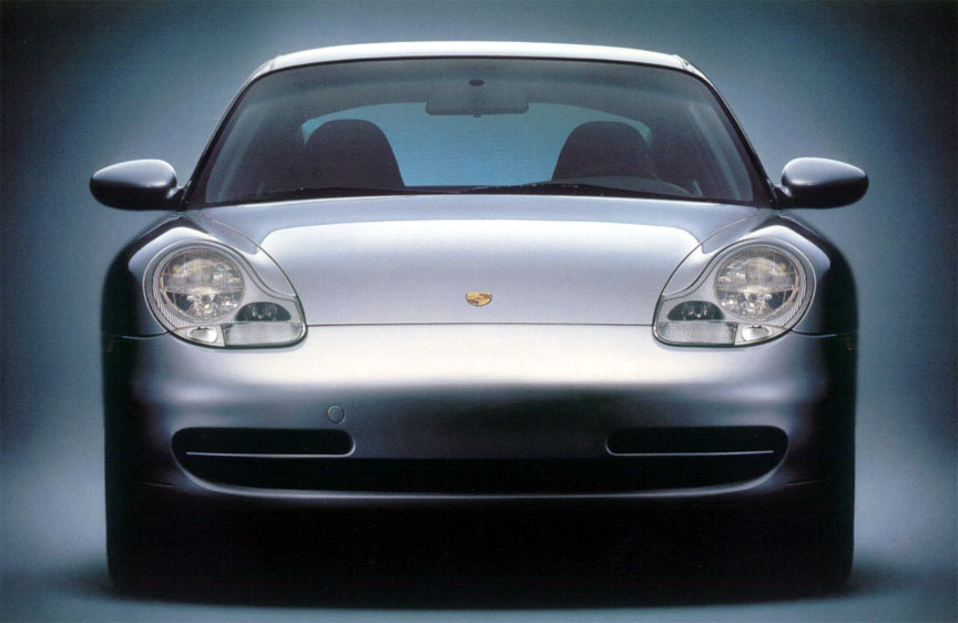 Porsche 911 996 Carrera front view, clear turn signal lenses