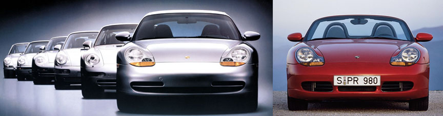 Porsche 911 996 and Boxster 986 front view