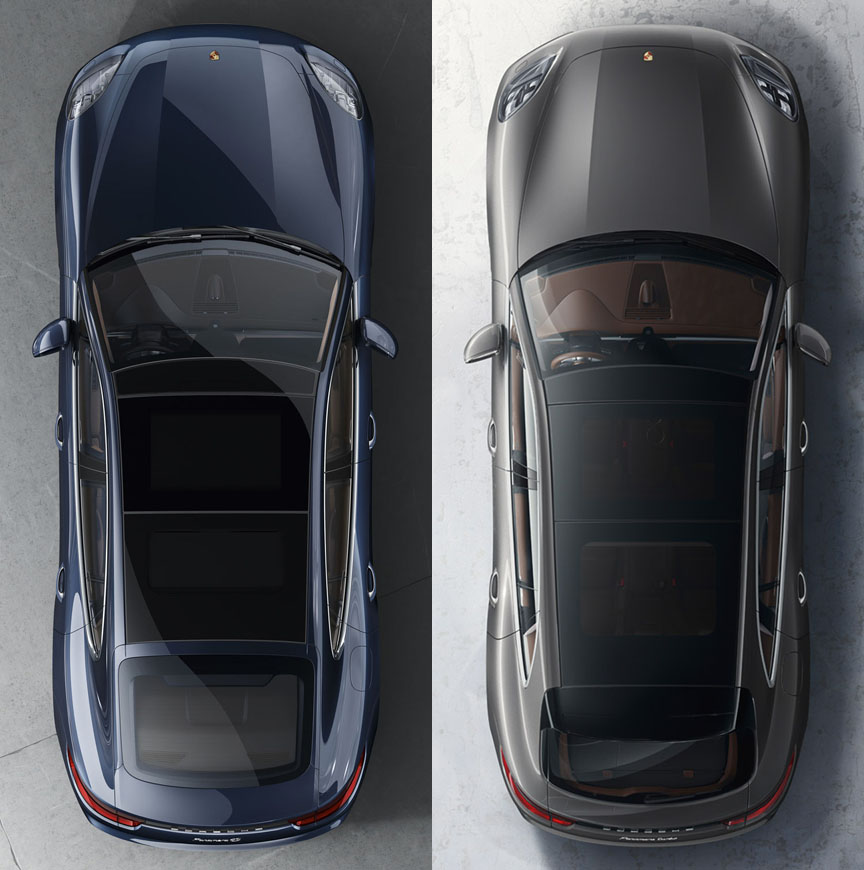 Panamera Sport Turismo 2017 2018 top view, panoramic roof