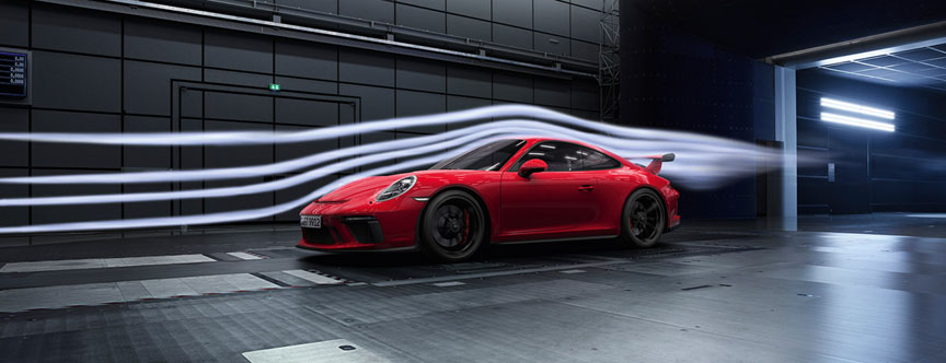 Porsche 911 991.2 GT3 4.0 in wind tunnel