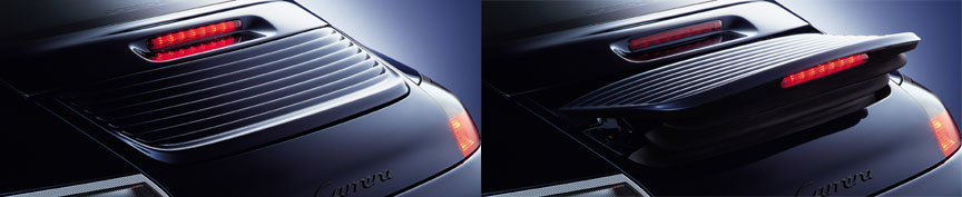 Porsche 911 996 Carrera rear spoiler up and down