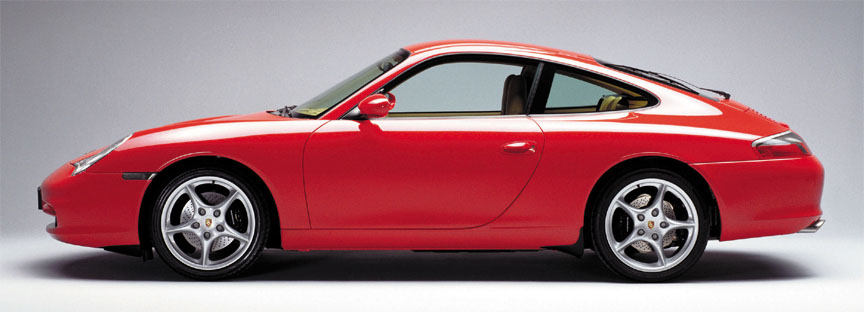 Porsche 911 996 Carrera 3.6 (facelift) side view with 18