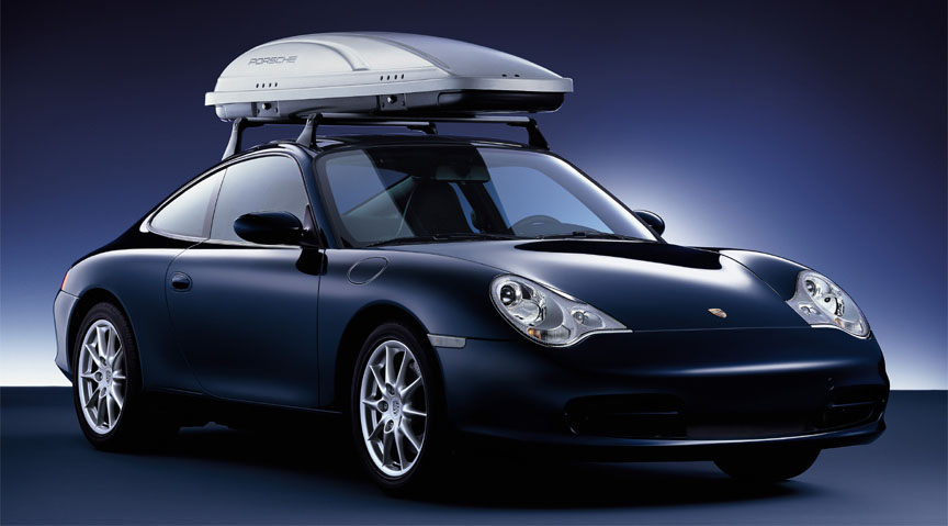 Porsche 911 996 Carrera 3.6 (facelift) coupe with roof rack and cargo box