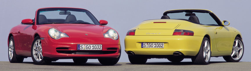 Porsche 911 996 Carrera 3.6 (facelift) cabrio front and rear, red and yellow