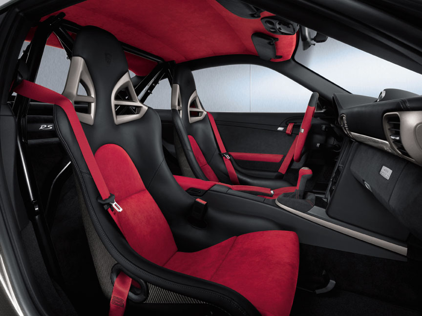 Porsche 911 997 GT2 RS interior, bucket seats, roll cage, red ceiling