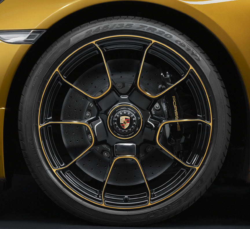 Porsche 911 991.2 Turbo S Exclusive Series wheel, ceramic brake, black calliper