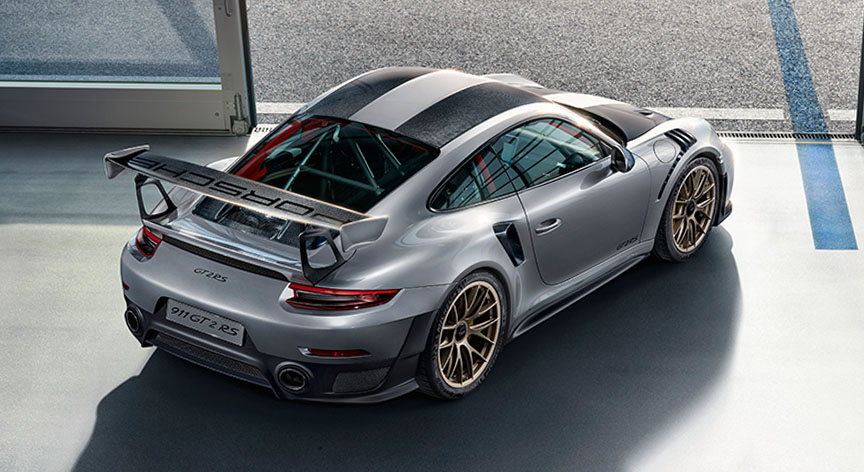 Porsche 911 991 GT2 RS Weissach top rear corner view