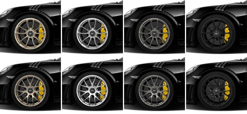 Porsche 911 991 GT2 RS wheels (white gold, silver, platinum, black)