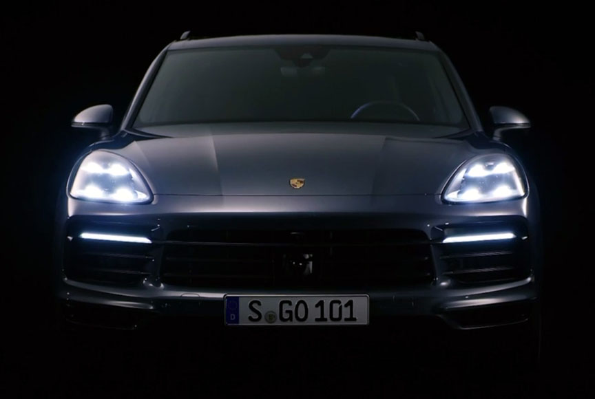 Porsche Cayenne 2018 front view in the dark