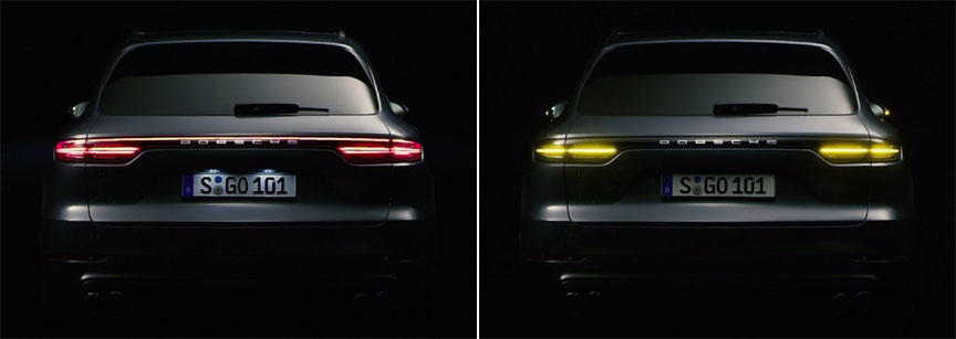 2018 Porsche Cayenne rear lamps in the night