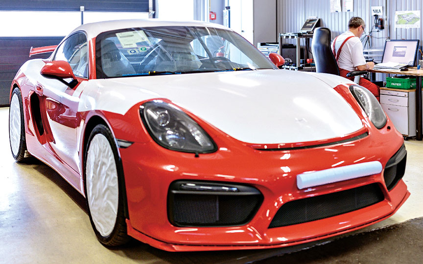 Cayman 981 GT4 wrapped for delivery