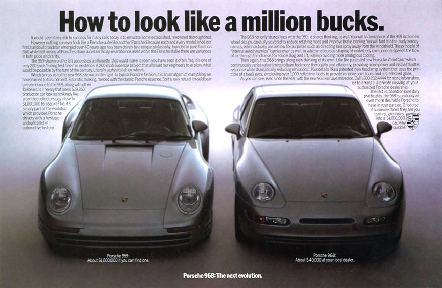 Porsche 968 advertising with 959