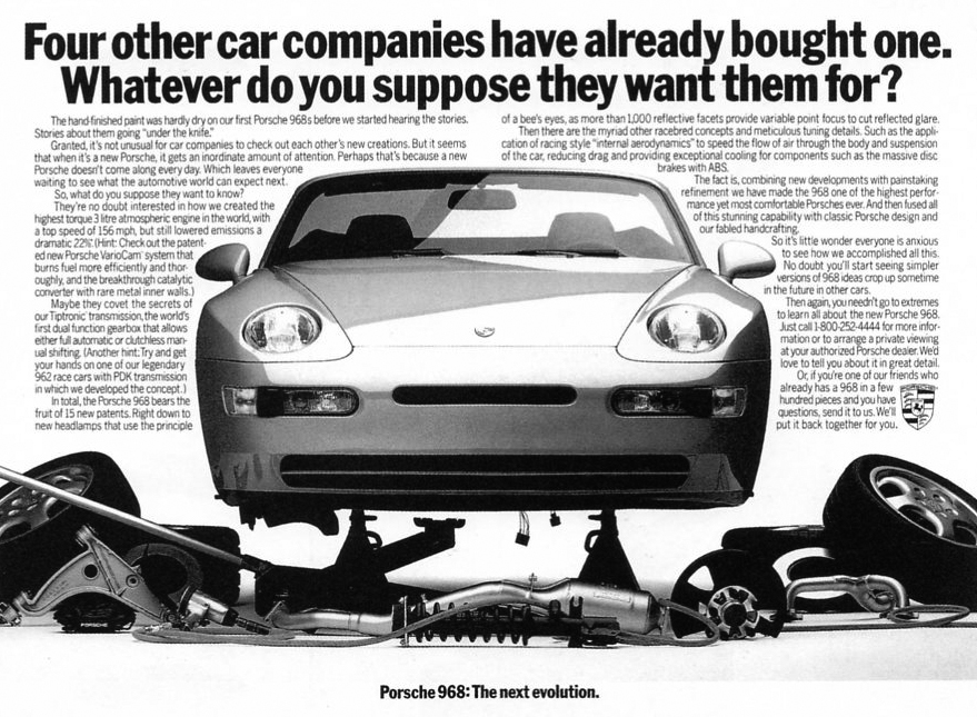 Porsche 968 Cabriolet dismantled (advertising)