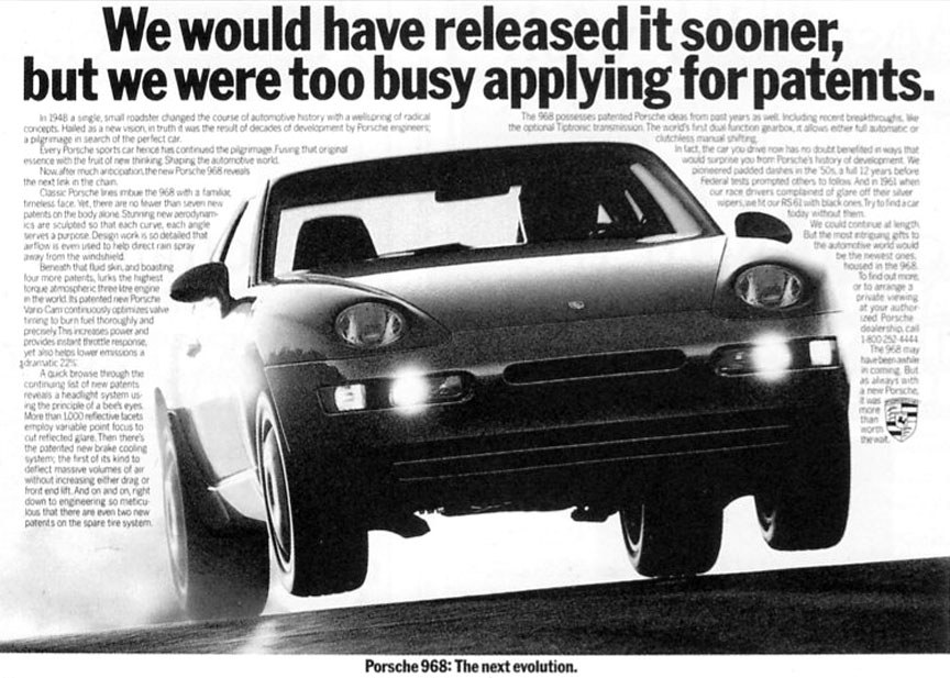 Porsche 968 flying (wheels off the ground), advertising