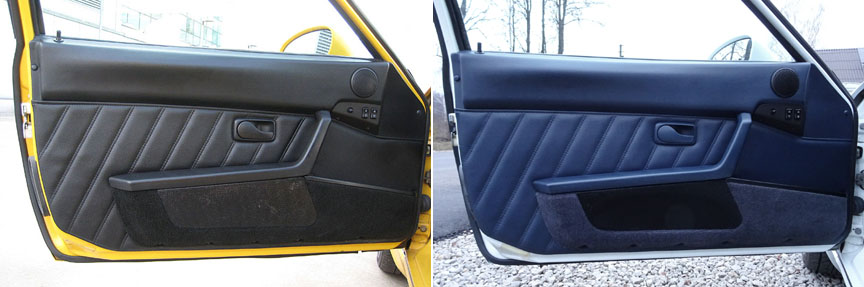 Porsche 968 black and blue door panels
