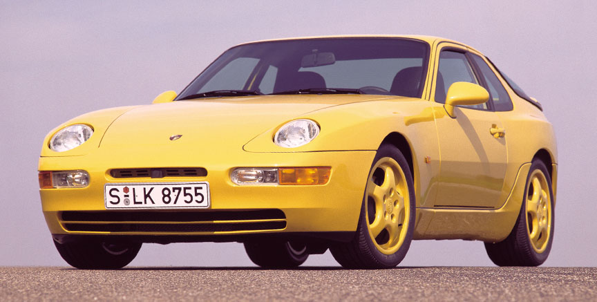 Porsche 968 CS, yellow, front view