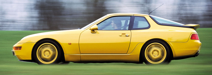 Porsche 968 CS, yellow, side view