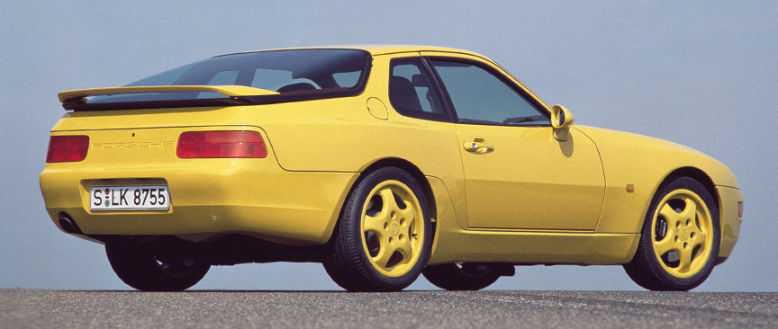 Porsche 968 CS, yellow, rear view