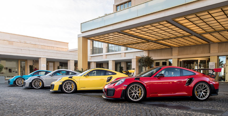 2017 Portimao GT2 RS press launch - Guards Red, Speed Yellow, Crayon, Miami Blue