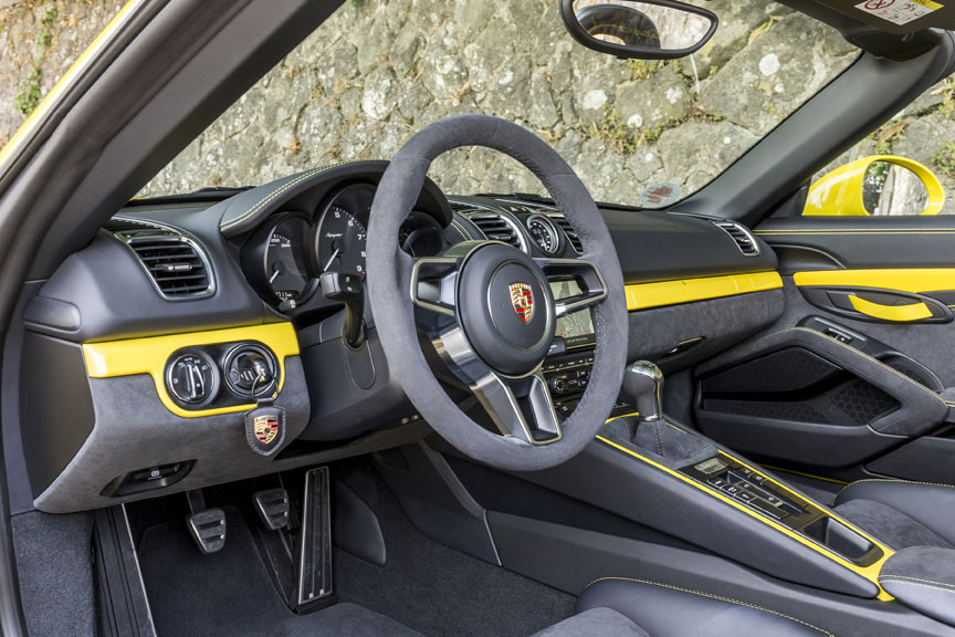 Porsche Boxster 981 Spyder cockpit with yellow accent