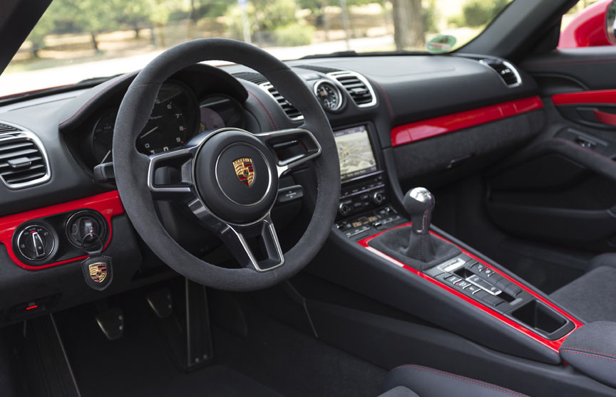Porsche Boxster 981 Spyder cockpit with red painted trim