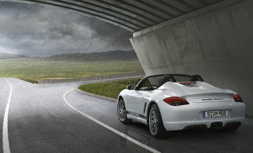 Porsche Boxster 987 Spyder waiting for the rain to end