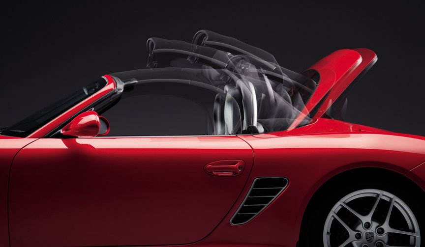Porsche Boxster 987.2 top operation, hood in motion