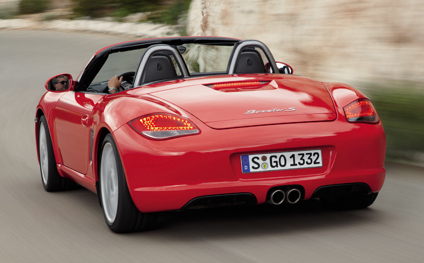 Guards Red Porsche Boxster 987.2 S top down