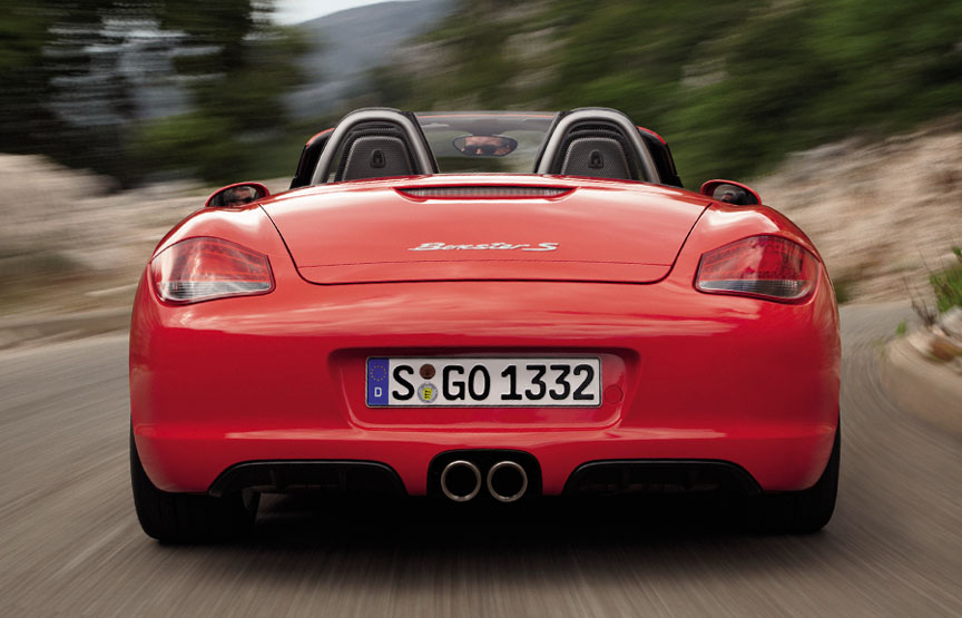Guards Red Porsche Boxster S (987.2) rear view