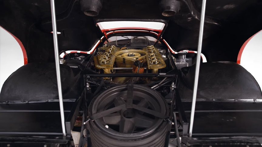 Porsche 917-001 engine cover up, spare wheel