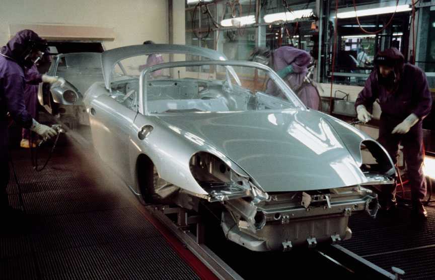 Porsche Boxster 986 in the paint booth