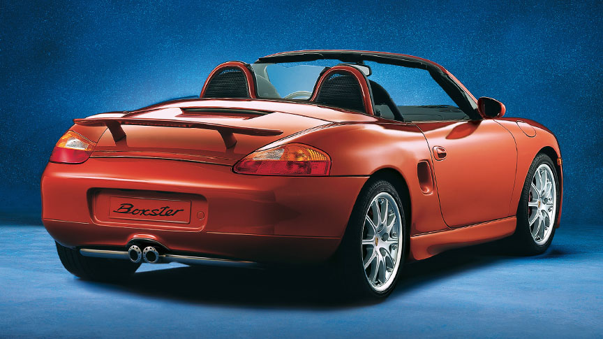 Porsche Boxster 986 with fixed rear spoiler and GT3-look wheels