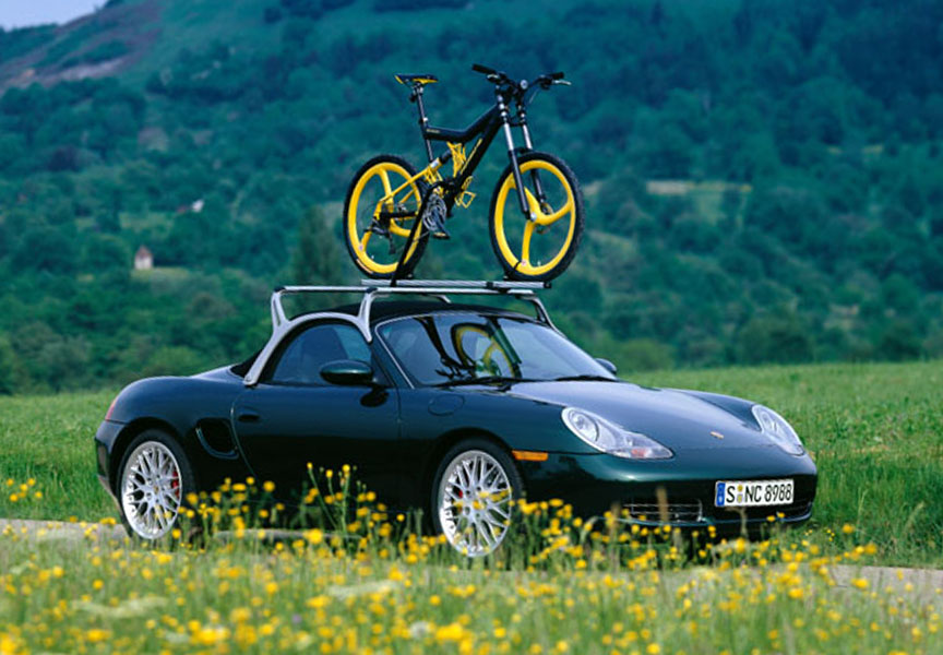 Porsche Boxster 986 with roof rack and bike carrier