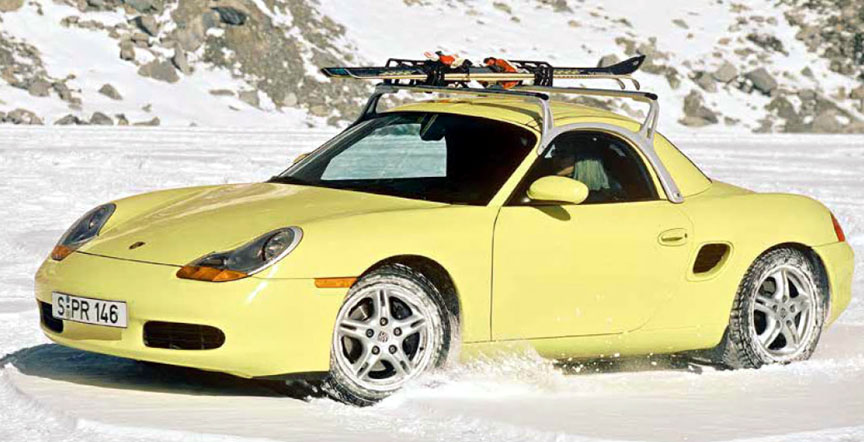 Porsche Boxster with hardtop, roof rack and ski holder