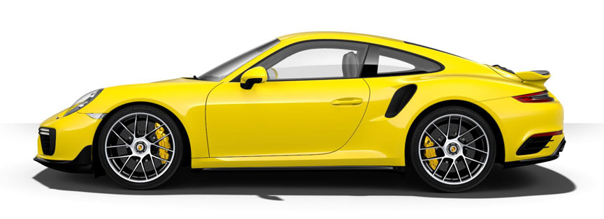 Yellow Porsche 911 991.2 Turbo S with aerokit (in black)