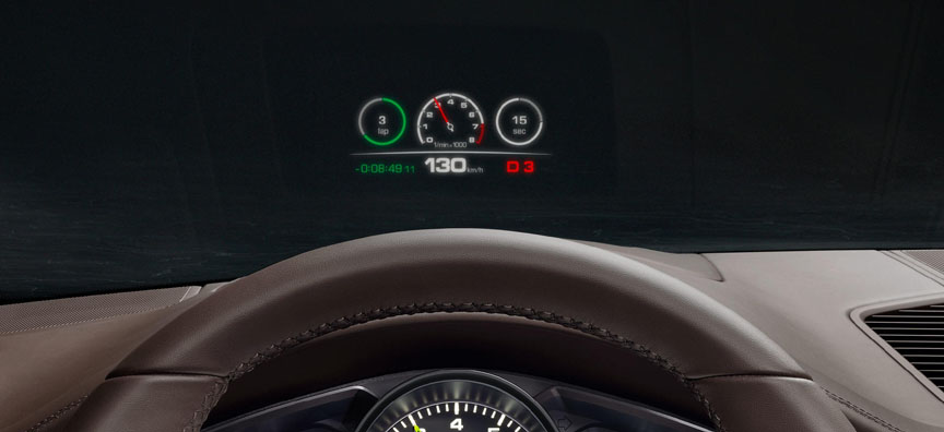 2018 Porsche Cayenne head-up display (2019 model year)