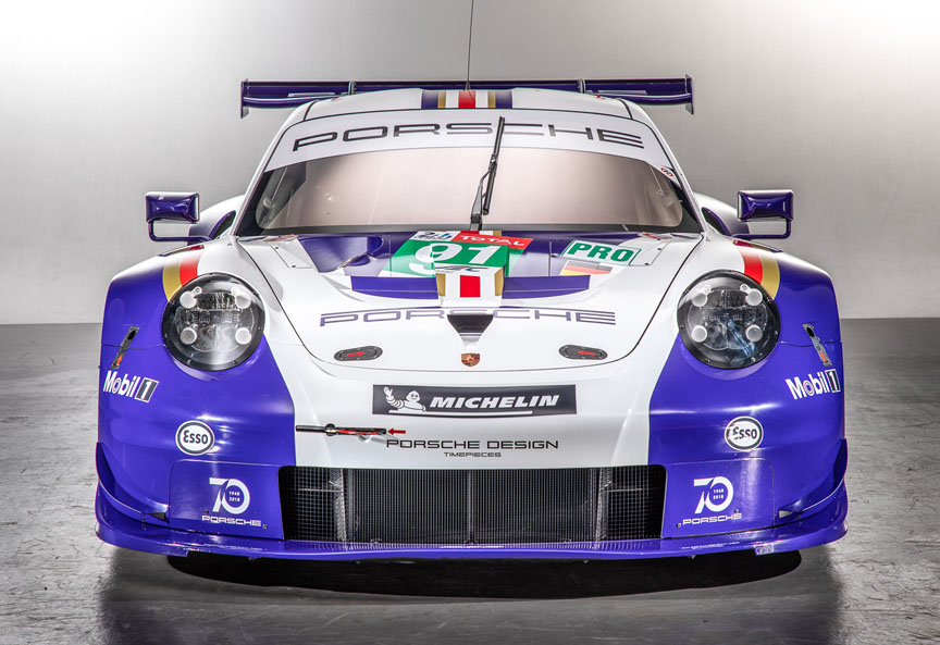 Porsche 911 RSR with classic livery for Le Mans 2018