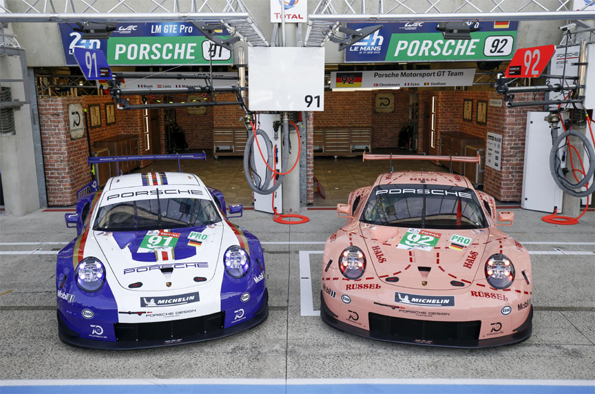 2018 Le Mans test day, two Porsche 911 RSR in historic liveries