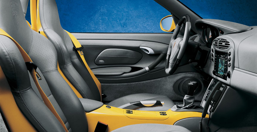 Porsche Boxster 986 sports seats, yellow seat belts, yellow painted centre console