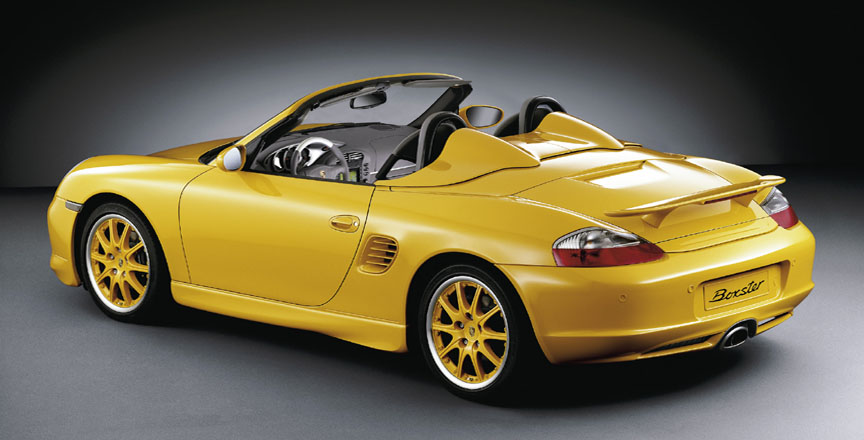Yellow Boxster 986.2 with aerokit and Speedster rear by Porsche Exclusive