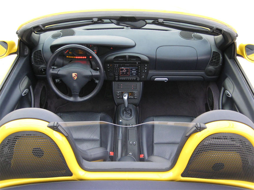 Porsche Boxster 986 yellow painted roll over bars, windstop