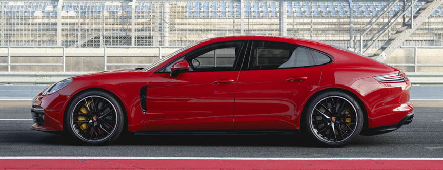 Red 2019 Panamera 971.1 GTS side view